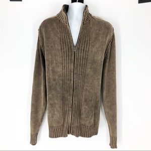 Blue Men's XXL Vintage Wash Full Zip Brown Sweater